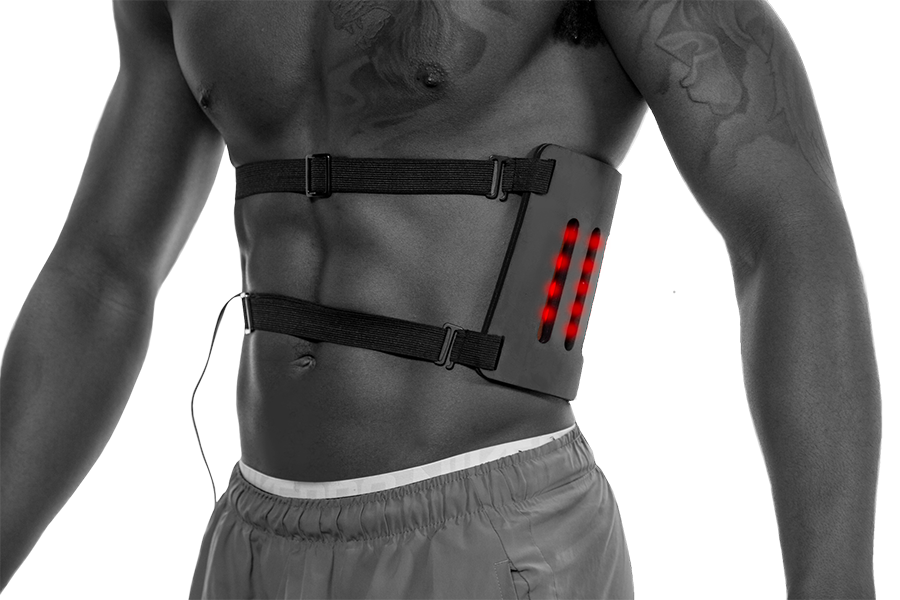 Render of man wearing The BodyGuard red light pain-relieving technology.